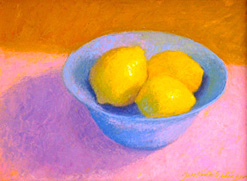 Lemons in a Blue Bowl, still life oil painting by Justina Selinger