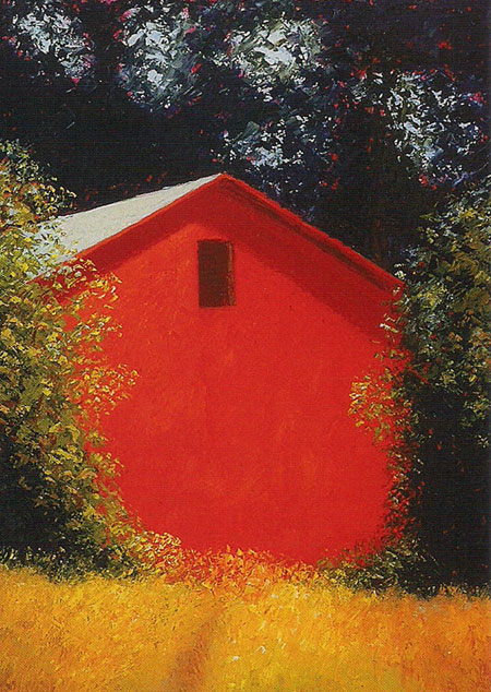 Red Barn, 48x36 by Justina Selinger