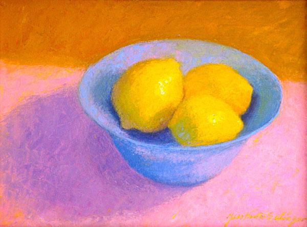 Lemons in Blue Bowl   9x12