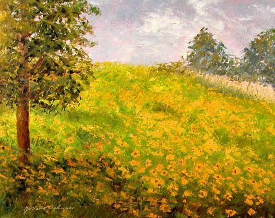 """""""Sunflower Meadow"""" 16 x 20 Oil on Board"""